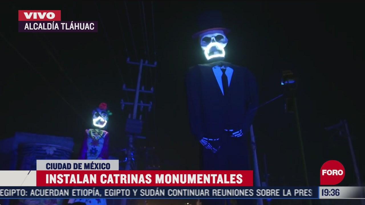 instalan catrines y catrinas monumentales en san andres mixquic