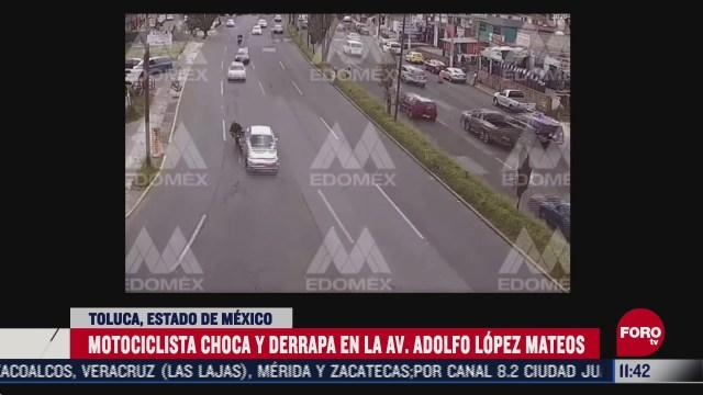 motociclista choca contra auto en toluca edomex