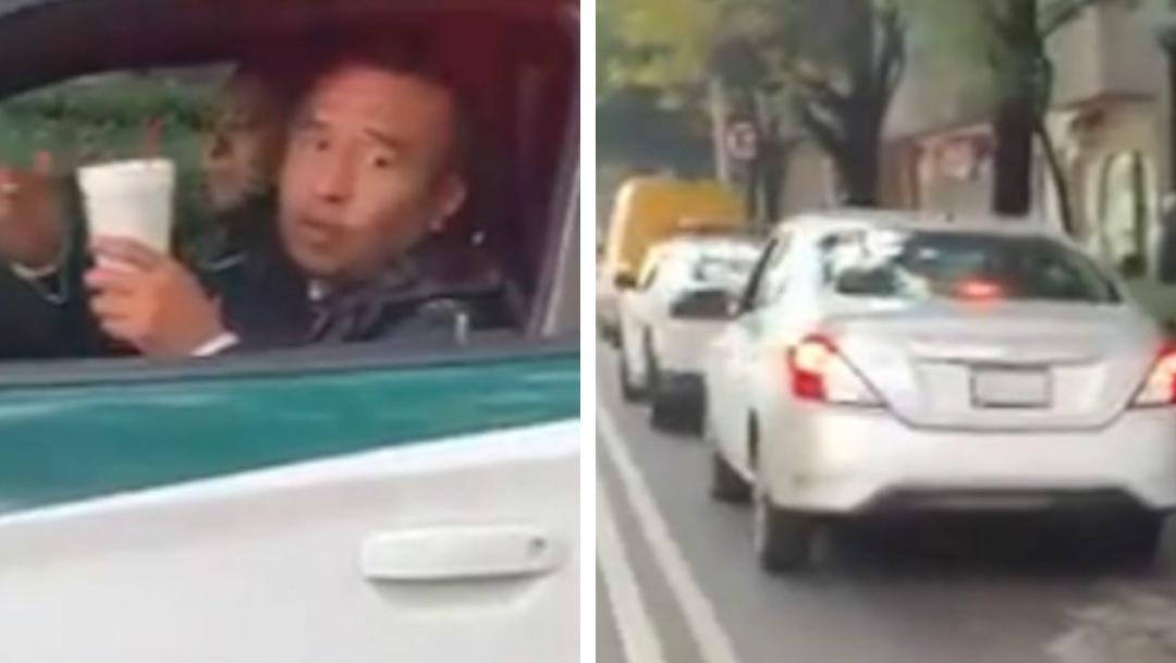 """Policías """"tomándose un atole"""" en el carril exclusivo de ciclistas"""