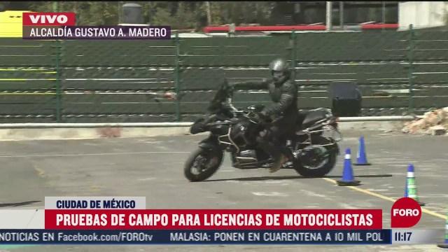 pruebas de campo para licencias de motociclistas