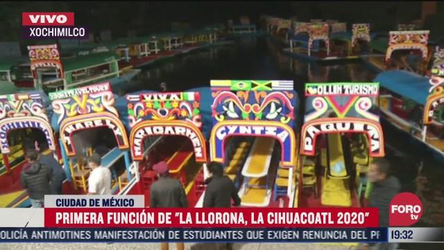 realizan primera funcion de la llorona en las trajineras de xochimilco