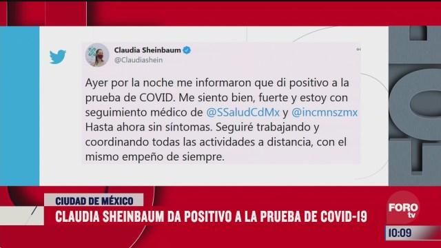 sheinbaum da positivo a covid