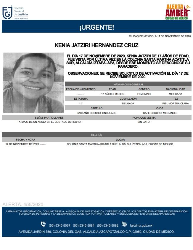 Activan Alerta Amber para localizar a Kenia Jatziri Hernández Cruz