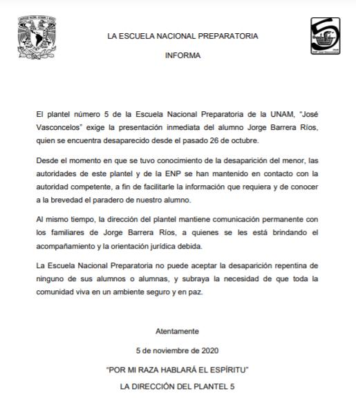 Desaparición Jorge Barrera Prepa 5 Unam
