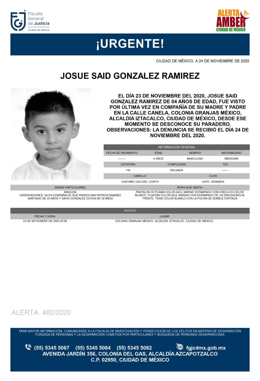 Activan Alerta Amber para localizar a Josue Said González Ramírez
