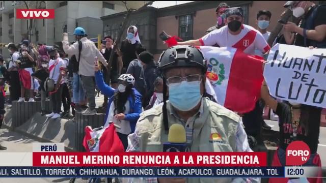 manuel merino renuncia a la presidencia de peru