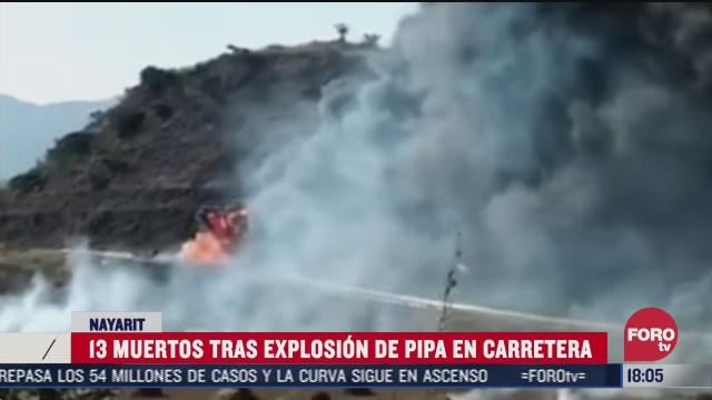 mueren al menos 13 personas tras accidente de pipa en la autopista tepic guadalajara
