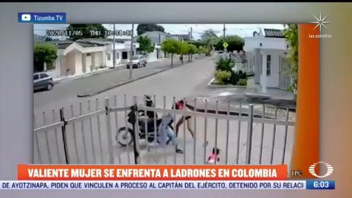 mujer se enfrenta a ladrones en colombia