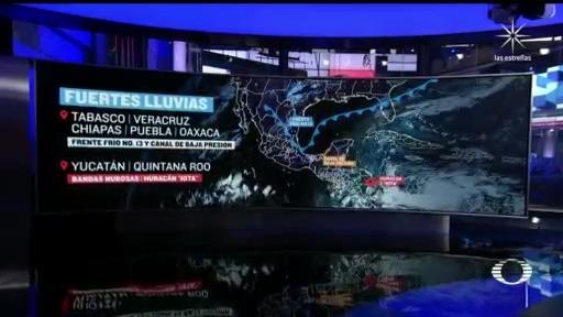 preven mas lluvias en el sureste de mexico por frente frio