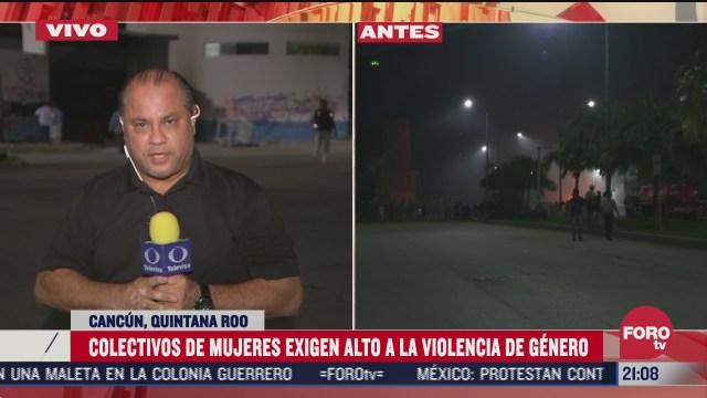 protesta contra feminicidios en cancun termina con hombres cometiendo vandalismo
