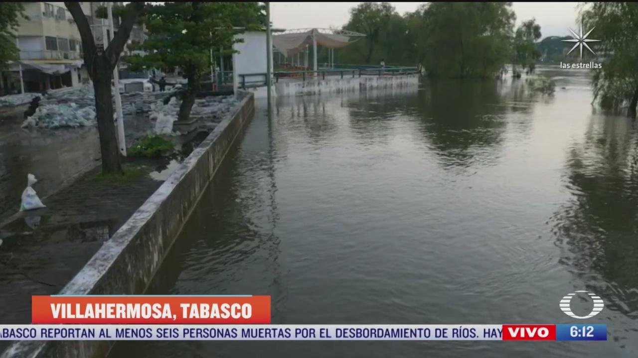 refuerzan muro para evitar que desborde el rio grijalva en villahermosa tabasco