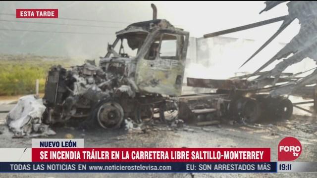 se incendia trailer en la carretera libre saltillo monterrey