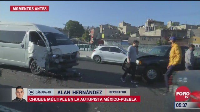 se registra choque multiple en la autopista mexico puebla