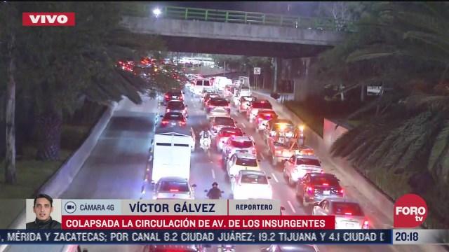 se registra intenso trafico vehicular sobre insurgentes