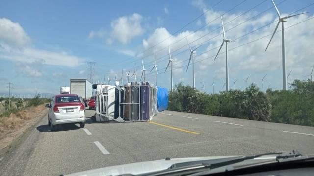 Vuelcan tráileres por fuertes vientos en tramo carretero La Venta-La Ventosa, Oaxaca