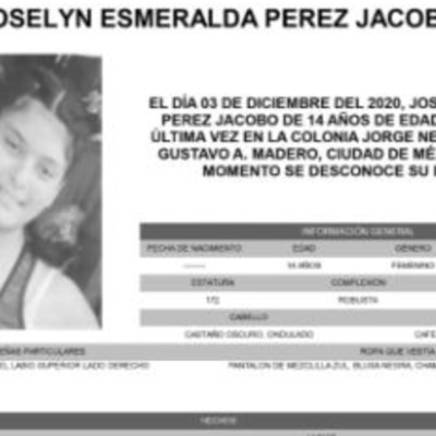 Activan Alerta Amber para localizar a Joselyn Esmeralda Pérez Jacobo