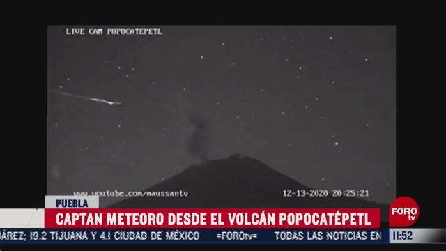 captan meteoro desde el volcan popocatepetl