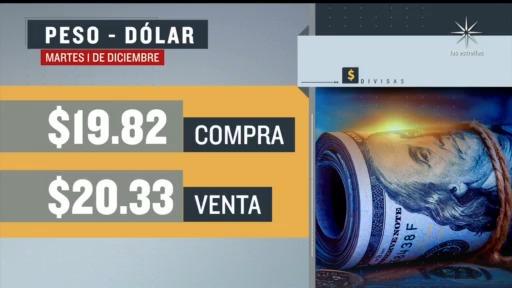 el dolar se vendio en 20 33 en la cdmx 1 diciembre