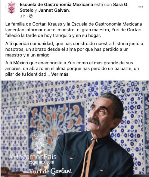 Muere el chef Yuri de Gortari, fundador de la Escuela de Gastronomía Mexicana