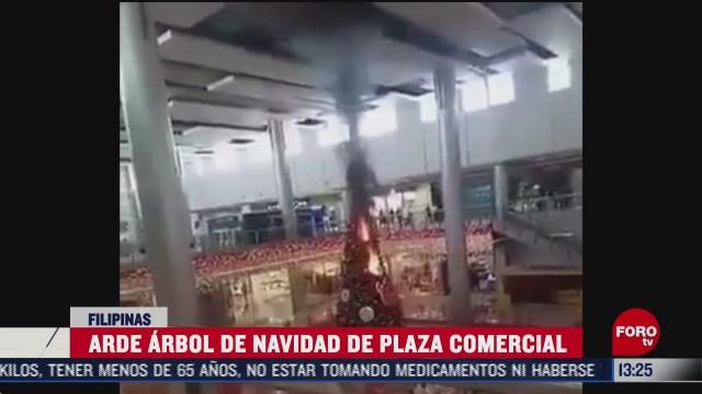 se incendia arbol de navidad de un centro comercial en filipinas