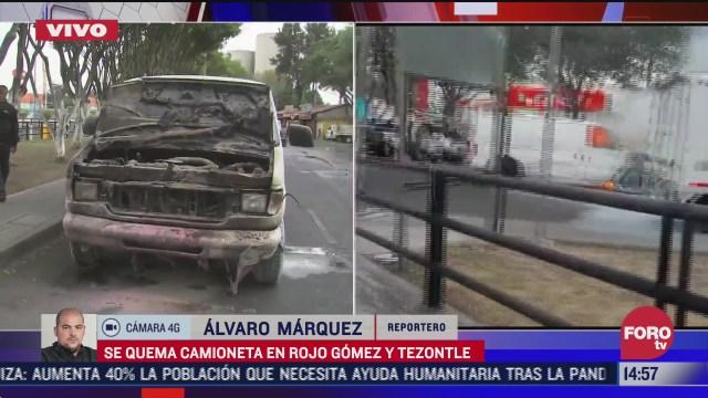 se incendia camioneta en rojo gomez y tezontle