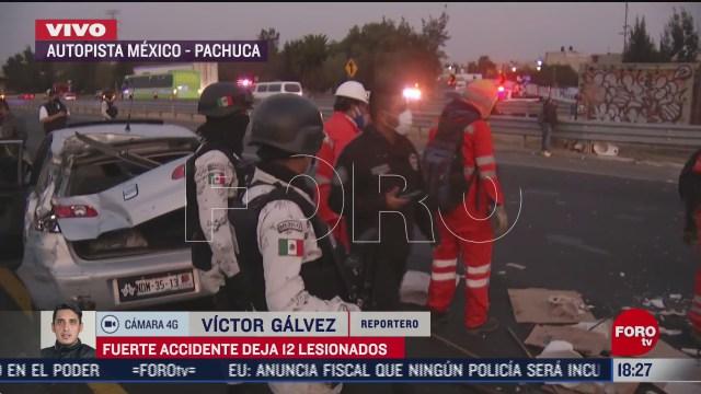 accidente en autopista mexico pachuca deja al menos 12 lesionados