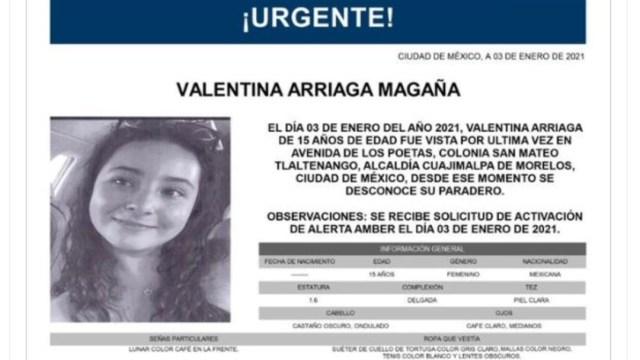 Activan Alerta Amber para localizar a Valentina Arriaga Magaña