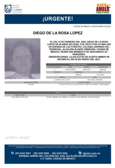 Activan Alerta Amber para localizar a Diego de la Rosa López