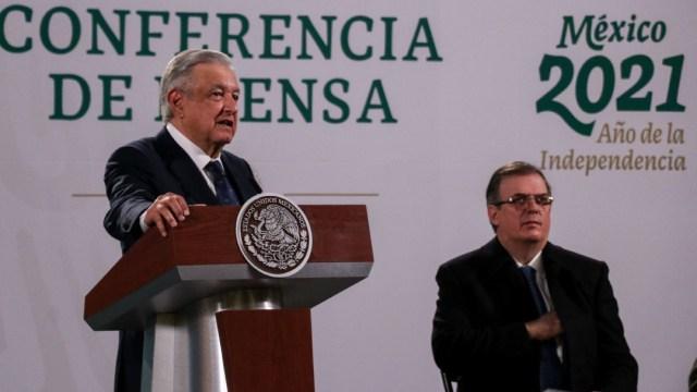Andrés Manuel López Obrador y Marcelo Ebrard durante la conferencia de prensa sobre la exoneración del exsecretario Salvador Cienfuegos