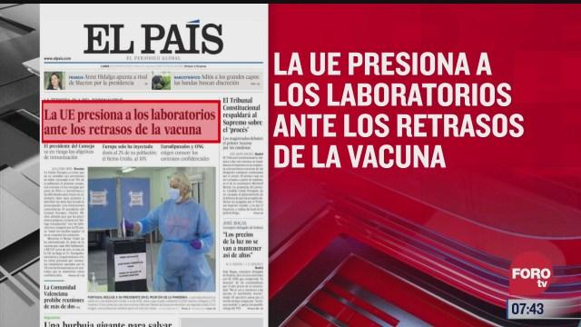 analisis de las portadas nacionales e internacionales del 25 de enero del
