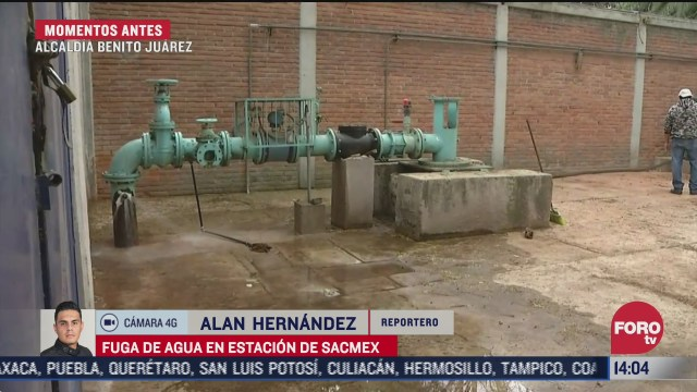 atienden fuga de agua en estacion del sacmex en benito juarez