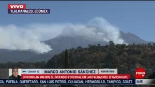 avanza control en incendio en las faldas del volcan iztaccihuatl