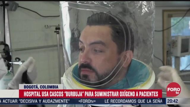 bogota usa cascos tipo burbuja para pacientes con covid