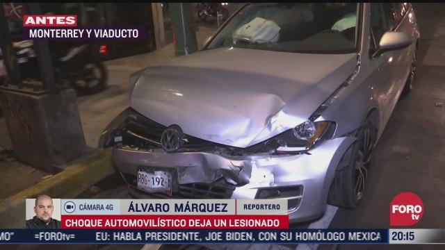 choque en avenida monterrey y viaducto deja una persona herida