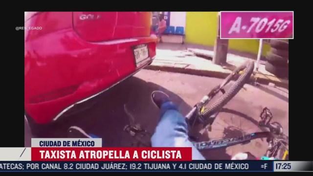 ciclista graba en video el instante en que es atropellado por taxista