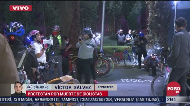 ciclistas realizan protestas en alcaldia tlalpan