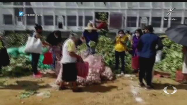 dif reparte verduras en oaxaca que agricultores de puebla regalaron
