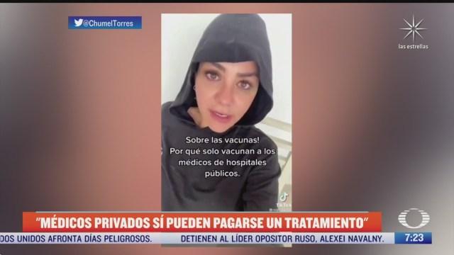 diputada pide que medicos de clinicas particulares no sean los primeros en vacunarse contra covid