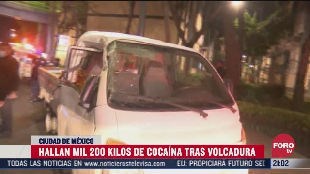 hallan mil 200 kilos de cocaina tras volcadura de una camioneta en la ciudad de mexico