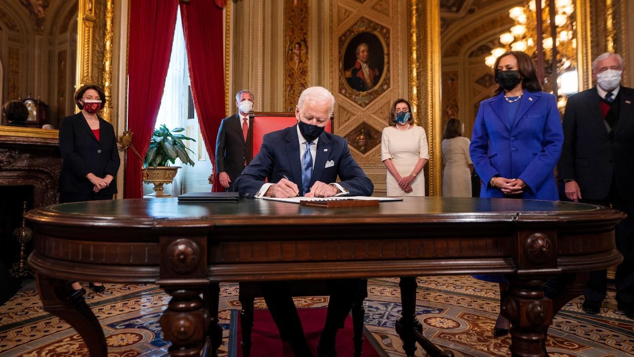 Joe Biden en la Sala de Presidentes del Capitolio de los Estados Unidos