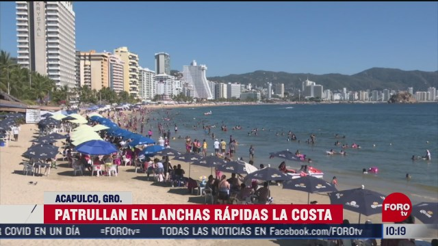lanchas rapidas patrullan playas de acapulco para proteger a turistas