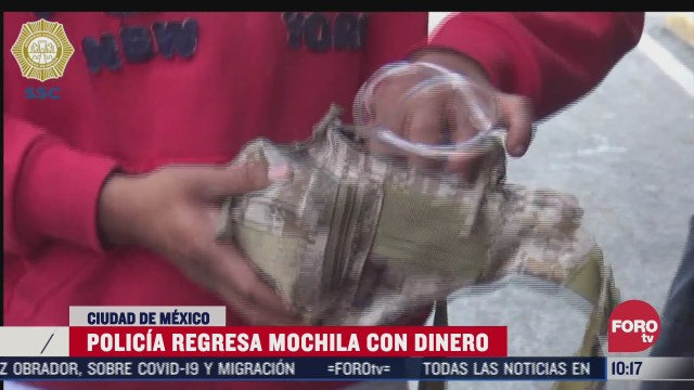 policia de cdmx devuelve una mochila con dinero