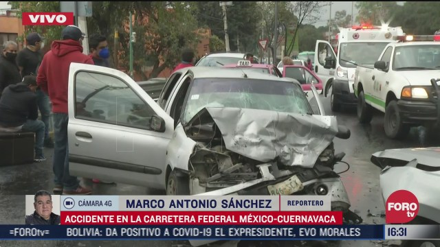 se registra accidente en carretera mexico cuernavaca