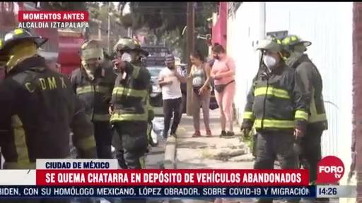 se registra incendio en deposito de vehiculos abandonados en iztapalapa