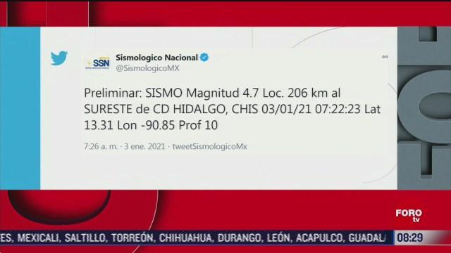se registra sismo de magnitud 4 7 en chiapas
