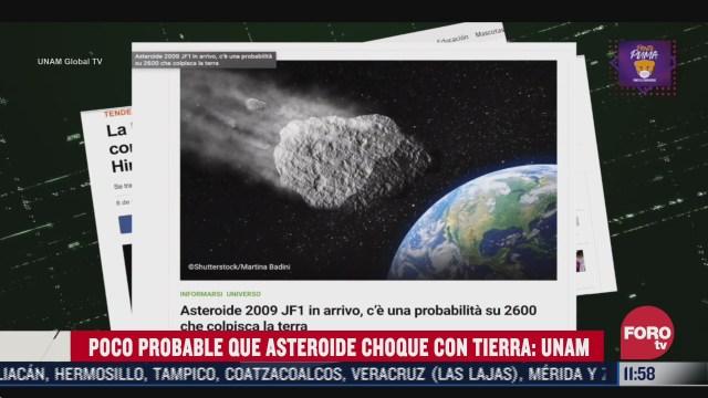 unam descarta que asteroide impacte la tierra en mayo de