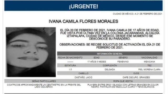 Activan Alerta Amber para localizar a Ivana Camila Flores Morales