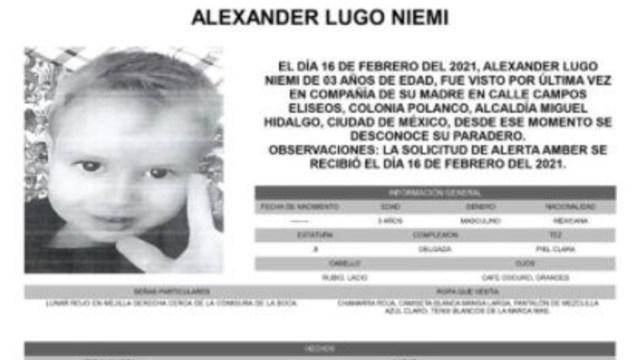 Activan Alerta Amber para localizar a Alexander Lugo Niemi.