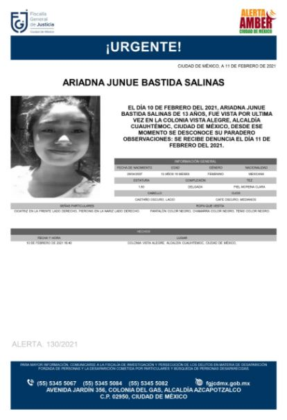 Activan Alerta Amber para localizar a Ariadna Junue Bastida Salinas