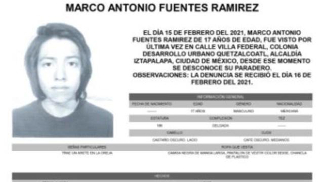 Activan Alerta Amber para localizar a Marco Antonio Fuentes Ramírez
